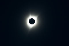 Full solar eclipse. Dark sky and dark sun disc at full solar eclipse. Central Oregon Royalty Free Stock Photo