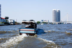 Full Speed. Ship cruising in Chao Chraya River, Bangkok, Thailand Stock Photography
