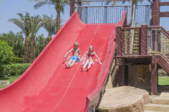 Full speed in the waterslide, image 1 stock image