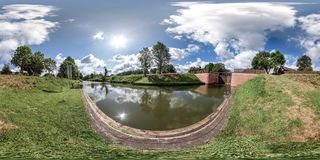 Full spherical seamless hdri panorama 360 degrees angle view near gateway lock sluice construction on river, canal for passing royalty free stock photography