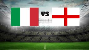 Full Stadium Video. Animated Full Stadium with lights with Italy VS England flags stock footage