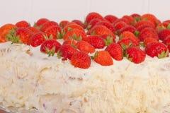 Full strawberry and mascarpone cake Stock Image