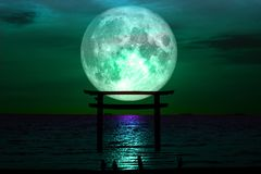 Free Full Sturgeon Moon Silhouette Torii Wooden Japanese Pillar Stand Royalty Free Stock Images - 123748329