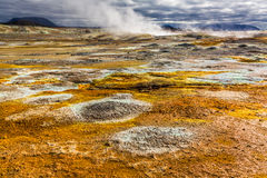Full of sulfur and steam Namafjal llandscape, Iceland Royalty Free Stock Image