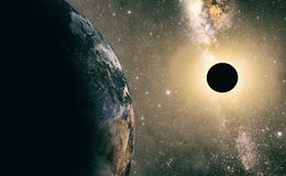 Full sun eclipse with Abstract scientific background Stock Image