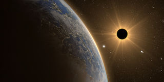 Full sun eclipse with Abstract scientific background Stock Photo