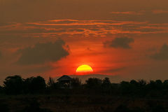Full sunset landscape. Full sunset with silhouette landscape Royalty Free Stock Photos