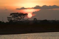 Full sunset. Natural full sunset with landscape Stock Photo