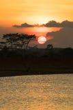 Full sunset. Natural full sunset and landscape Stock Photo