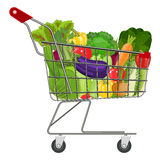 Full supermarket shopping cart royalty free stock photography