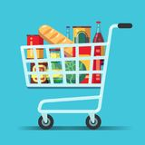 Full supermarket shopping cart. Shop trolley with food. Grocery store vector icon stock illustration