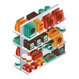 Full supermarkethyllasymbol, isometrisk stil royaltyfri illustrationer