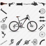 Full-suspension mountain bike. With parts Royalty Free Stock Image