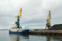 Full-swing portal crane with articulated boom and passenger cargo vessel Vasily Zavoiko Stock Photography