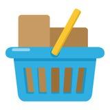 Full symbol för lägenhet för shoppingkorg på vit Arkivbild