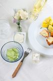 Full table of breaded cauliflower and assortment royalty free stock images
