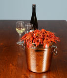 Full tail of rever lobsters with wine. And glasses Royalty Free Stock Photo