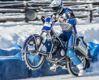 Full throttle on one wheel. Russia. The Republic Of Bashkortostan. The Ufa. Racing on ice. The Championship Of Russia. A final . February 1, 2014 Royalty Free Stock Photography