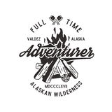 Full time adventurer vintage label with textured bonfire, axe and type elements. Alaska wilderness retro emblem Stock Photo