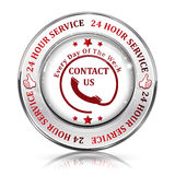 Full Time Support Service. 24/7 hour service. Contact us - shiny button, icon, label and sign Royalty Free Stock Photography