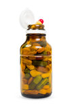 Full transparent bottle of pills Royalty Free Stock Photos