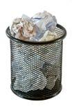Full trash bin. Trash bin full of crumpled paper, isolated on white background stock photos