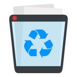 Full Trash Bin Flat Icon Isolated on White Royalty Free Stock Images