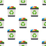 Full Trash Can Flat Icon Seamless Pattern Stock Photography