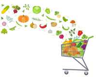 Full trolley, cart with fresh vegetables. Flat design. Banner, space for text, isolated on white background. Healthy Royalty Free Stock Photography