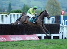 Horse Racing. Full trottle 1st seen here jumping the last at cheltenham races 5-5-17 Stock Photos