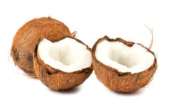 Full and two halves of coconut Stock Photo