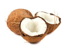 Full and two halves of coconut Stock Images