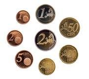Full uppsättning av euromynt Europa Tyskland som isoleras på whtiebakgrund arkivfoto