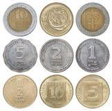 Full uppsättning av israeliska mynt Royaltyfria Foton