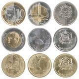 Full uppsättning av mynt av Marocko Fotografering för Bildbyråer