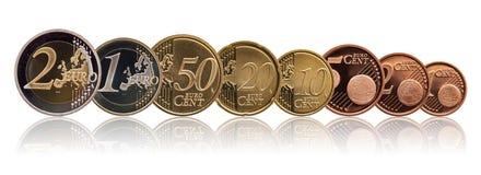 Full upps?ttning av euromynt Europa Tyskland, lutningbakgrund arkivfoto