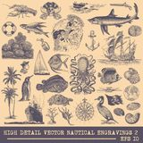 Collection of Nautical vector engravings stock illustration