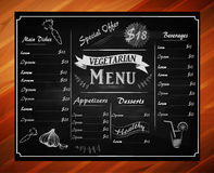 Full vector template Chalkboard menu. A full vector template Chalkboard menu for restaurant and hand drawn elements and wooden edge Royalty Free Stock Image