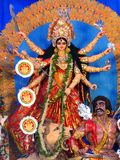 Full, vertical shot of Durga idol. Royalty Free Stock Photography