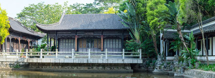 Panoramic view of Ancient Chinese Wooden House Stock Image