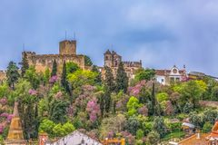 Full View at the Convent of Christ, Roman Catholic convent in Tomar, originally Templar stronghold, Portugal. Tomar / Portugal - 04 04 2019 : Full View at the royalty free stock images
