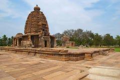 Full view of Galaganatha temple, Pattadakal temple complex, Pattadakal, Karnataka. Kadasiddhesvara temple is seen in the distance. Full view of Galaganatha royalty free stock images