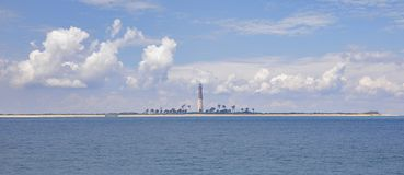 Loggerhead Key and Lighthouse, Dry Tortugas. Full view of Loggerhead Key at Dry Tortugas national park, with the now decommissioned lighthouse in the far royalty free stock photo