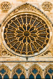 Full view of main rose window and lancet arch shapes in the goth Stock Photos
