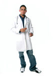 Full view of medical technician. Standing on white a full view of medical technician royalty free stock photo