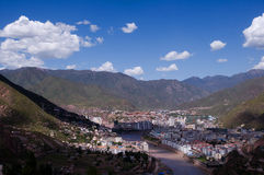 The full view of Qamdo prefecture of Tibetan Stock Images