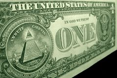 High angle, shot of the pyramid, from the great seal, on the back of the US dollar bill. royalty free stock image