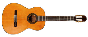 Full view of spanish acoustic guitar Stock Photography
