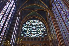 Full view Beautiful stained glass rose window in Sainte-Chapelle Paris France. Full view Stained Glass rose windows at Sainte-Chapelle a royal chapel in the Royalty Free Stock Photography