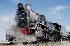 Full view of steam train at Swakopmund, Namibia stock photography